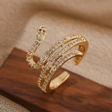 fashion animal snake copper inlaid zirconium open ring NHLA355068's discount tags