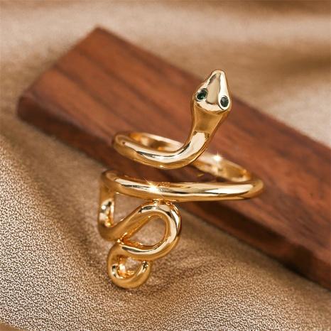 fashion zodiac snake copper inlaid zirconium open ring  NHLA355069's discount tags