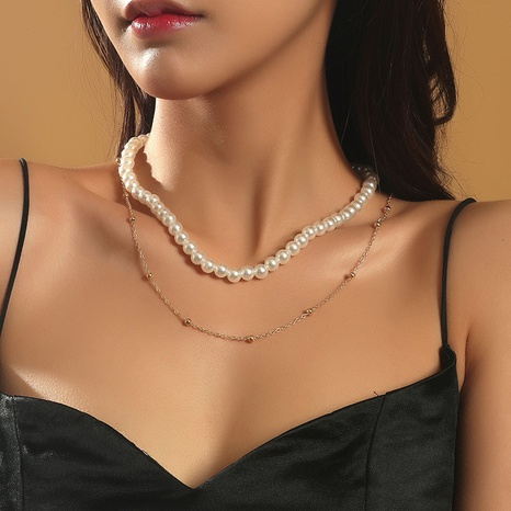 collar de múltiples capas de perlas tejidas a mano de moda NHLA355070's discount tags