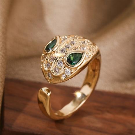 fashion zodiac snake copper inlaid zirconium open ring NHLA355072's discount tags