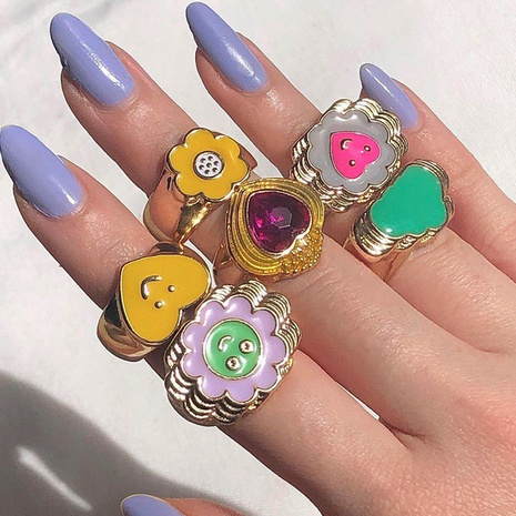 fashion heart smiley flower geometric alloy drip ring NHMO355096's discount tags