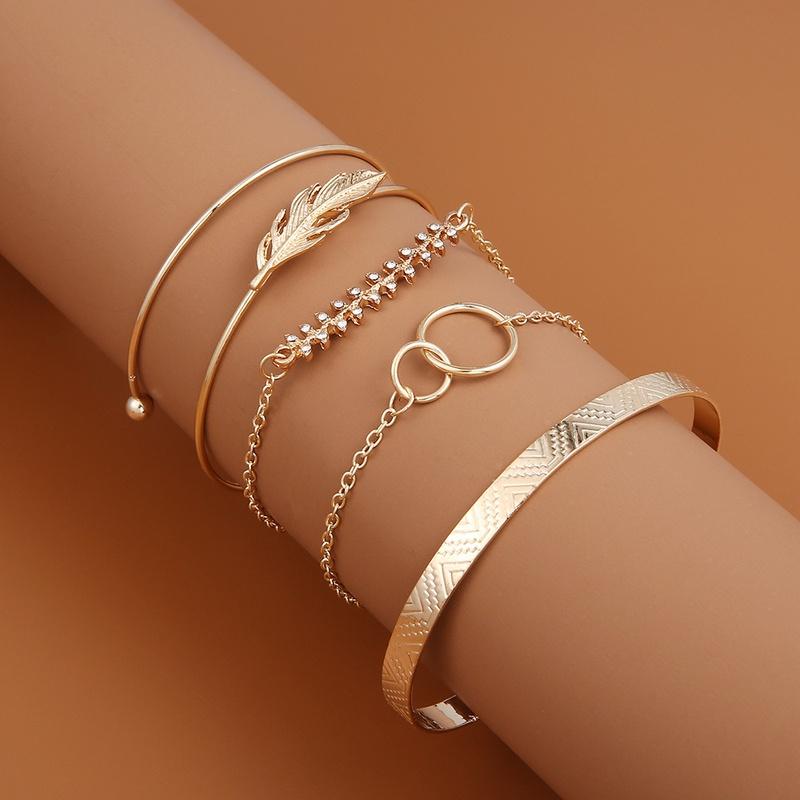 retro double leaf pattern geometric bracelet 5piece set NHMO355106