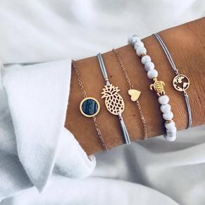 pineapple heart map sea turtle blue bead turquoise bracelet 5-piece set NHMO355111