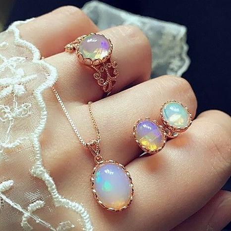 moda piedras preciosas pendientes colgantes anillos collares conjuntos NHMO355124's discount tags