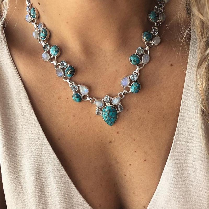 retro inlaid turquoise pendant white green flower necklace  NHMO355125