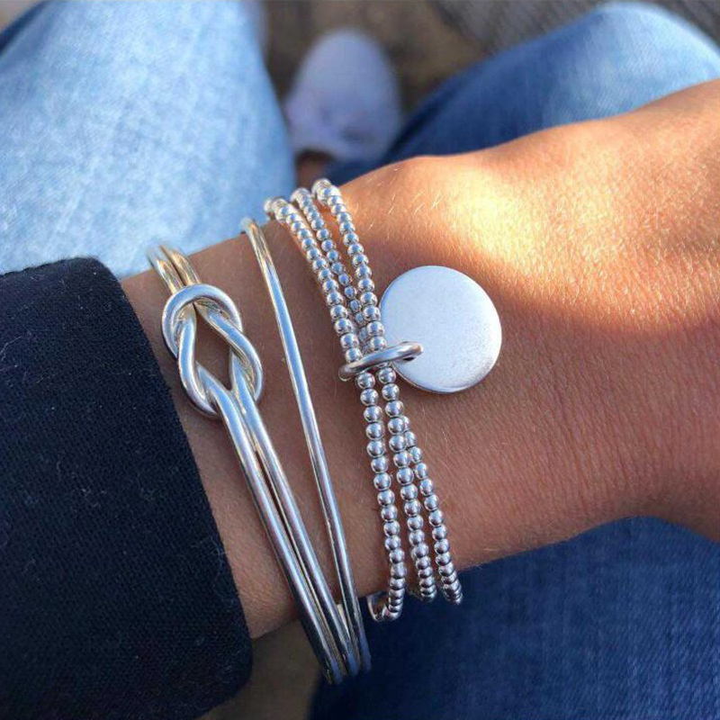 fashion knotted beaded pendant open bracelet 3piece set NHMO355129
