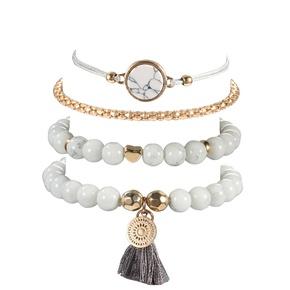 retro tassel round turquoise beaded bracelet 4-piece set  NHMO355133