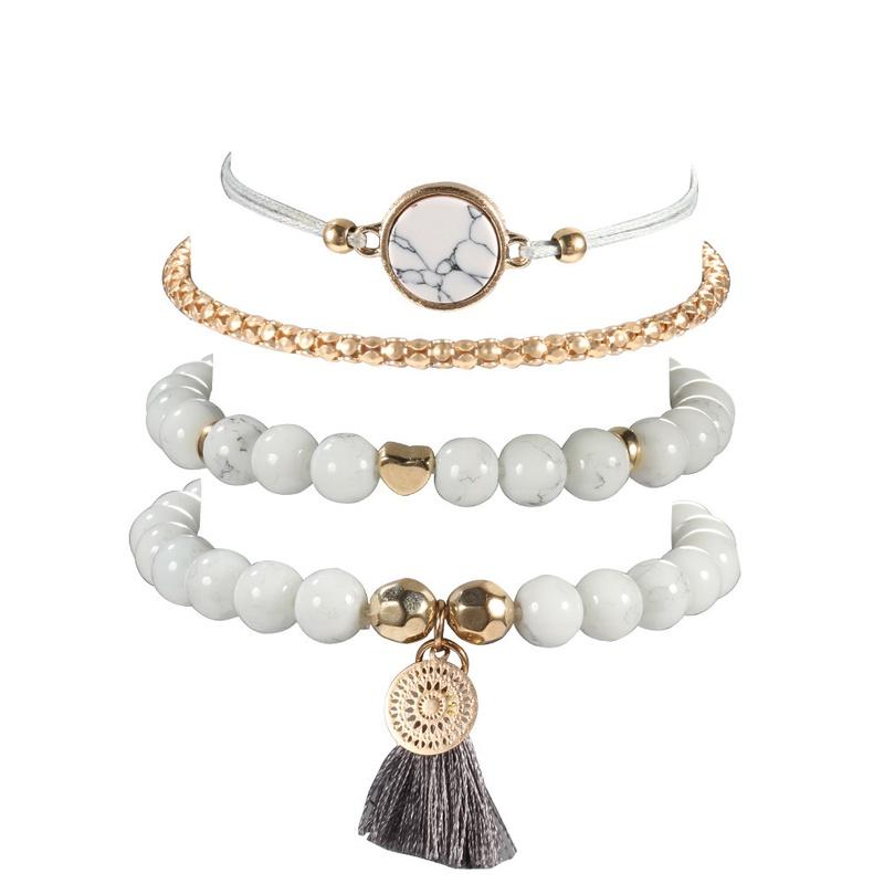 retro tassel round turquoise beaded bracelet 4piece set  NHMO355133