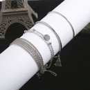 simple smooth tassel multilayer chain disc bracelet 4piece set NHMO355136