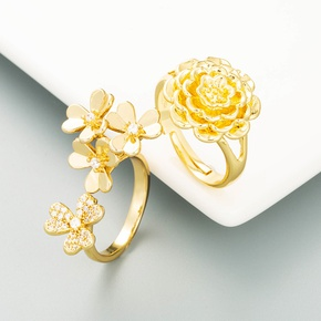 fashion copper-plated gold floral ring wholesale  NHLN355155