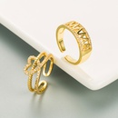 simple hollow English letters heartshaped copper microinlaid zircon ring  NHLN355157