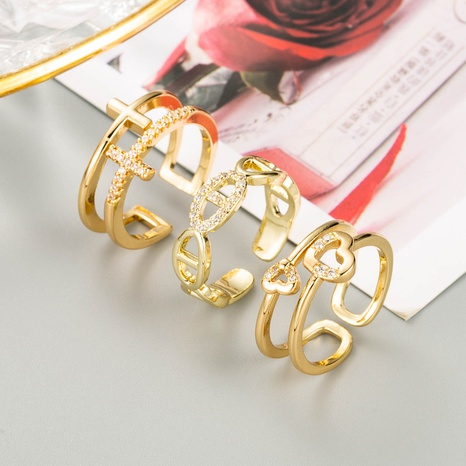 fashion heart-shaped cross copper micro-inlaid zircon ring NHLN355158's discount tags