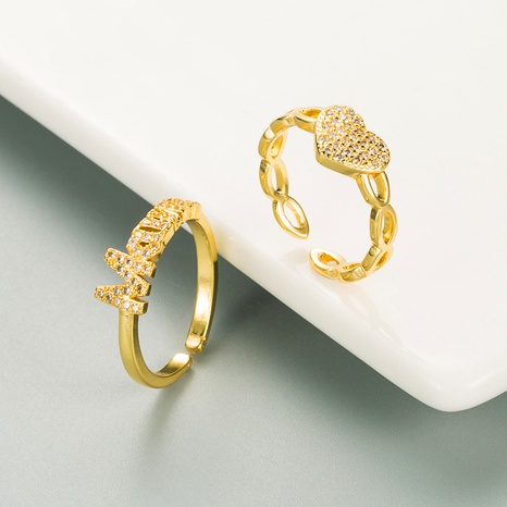fashion heart letter zircon copper gold-plated opening ring  NHLN355162's discount tags