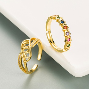 fashion copper-plated gold micro-inlaid color zircon ring  NHLN355165