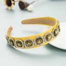 Baroque style simple alloy flower diamondstudded headband  NHLN355169