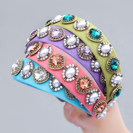 New Fashion Style Diamant eingelegte Perle rundes Glas Stirnband NHJE355200's discount tags