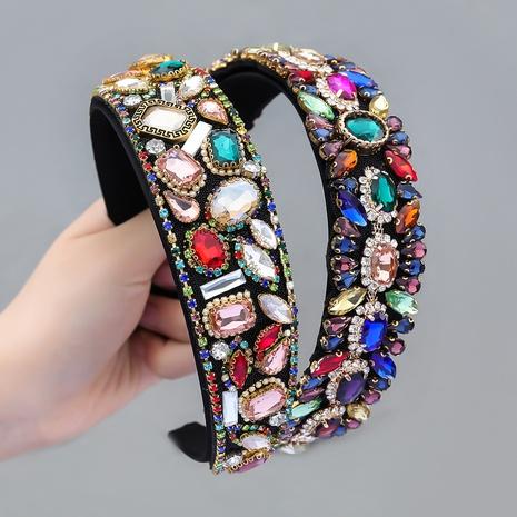 neues, mit Diamanten besetztes Stirnband aus Samtstoff im Modestil NHJE355202's discount tags