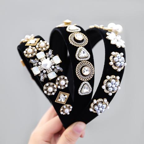 neues modisches Flanell Diamant eingelegt Perle geometrisches Stirnband NHJE355203's discount tags