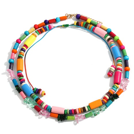 wholesale ethnic style contrast color geometric necklace  NHJQ355223's discount tags