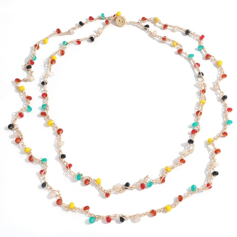 ethnic style hand-woven round bead chain long necklace NHJQ355226's discount tags