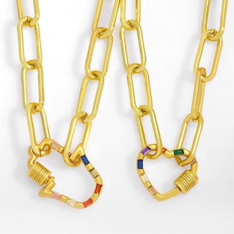 Collar de cobre de cadena gruesa cuadrada de corazón de moda NHAS355229's discount tags