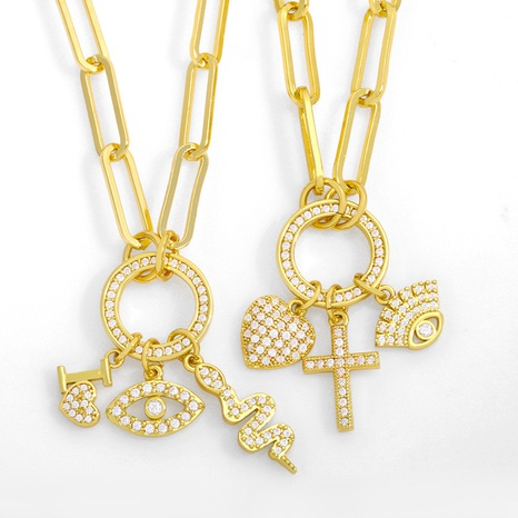 fashion heart eye snake combination pendant necklace NHAS355231's discount tags