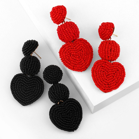 bohemian style three-layer peach heart rice bead earrings NHAS355232's discount tags