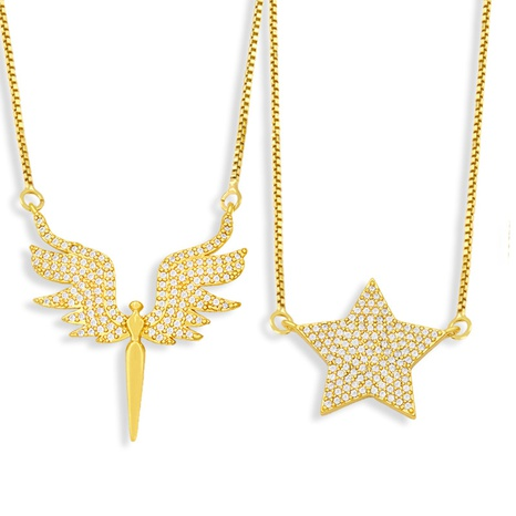 Fashion Angel Wings Pentagram Pendent Zircon Necklace  NHAS355236's discount tags