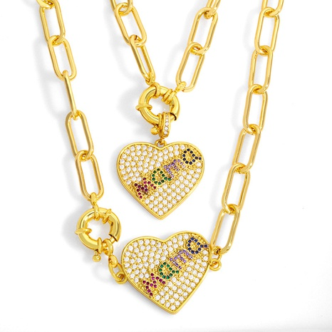 Collar de cobre con colgante largo de corazón de melocotón de moda NHAS355237's discount tags
