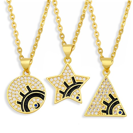 fashion geometric round five-pointed star eye pendent necklace  NHAS355239's discount tags