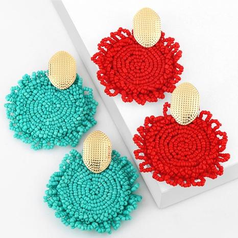 ethnic style creative rice bead geometric round big earrings  NHAS355242's discount tags