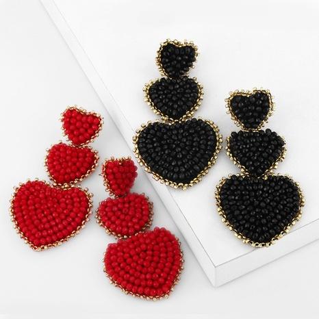 bohemian style creative rice beads three layers heart shape earrings  NHAS355244's discount tags