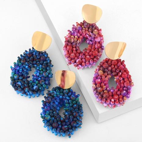 Bohemian style metal circle rice beads drop earrings  NHAS355245's discount tags