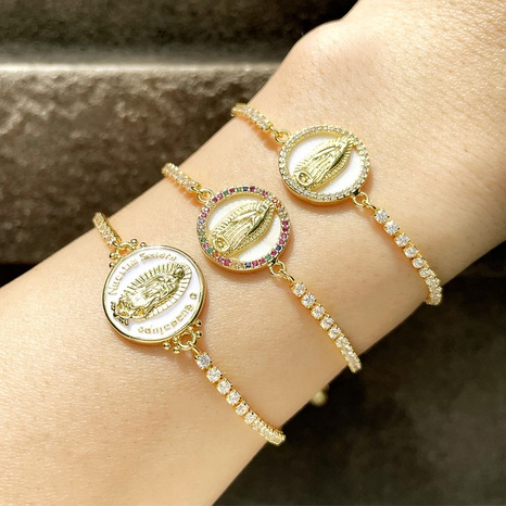 Retro Virgin Mary portrait inlaid color zircon adjustable bracelet  NHAS355246's discount tags