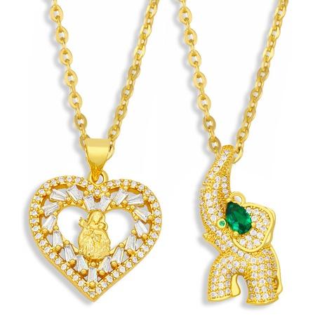collar con colgante de circonitas con corazón de elefantito simple NHAS355249's discount tags