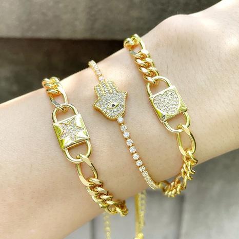 hip-hop style lock heart palm zircon bracelet  NHAS355250's discount tags