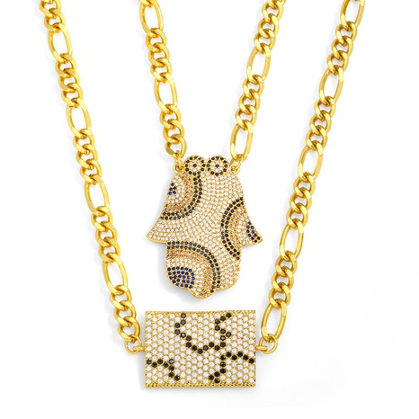 ins hip hop palm flower geometric pendent necklace  NHAS355252's discount tags