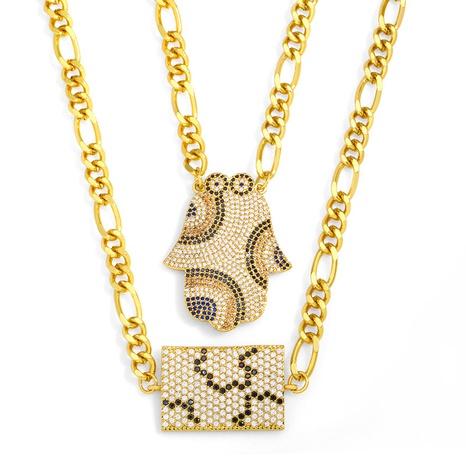 ins hip hop flor de palma collar colgante geométrico NHAS355252's discount tags