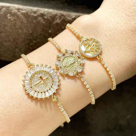 fashion hollow round cross adjustable zircon bracelet  NHAS355253's discount tags