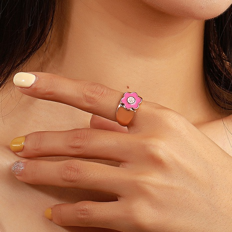 simple colorful dripping oil heart flower alloy ring  NHDP355261's discount tags