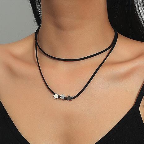 simple estrella corazón libélula negro cuerda trenzada collar de doble capa NHDP355271's discount tags