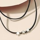 simple star heart dragonfly black braided rope doublelayer necklace NHDP355271