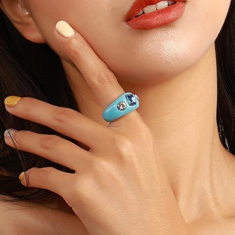 Anillo de resina de diamantes de color irregular coreano NHDP355273's discount tags