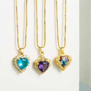 fashion hollow heart of the sea gemstone copper micro-inlaid zircon necklace NHLN355276