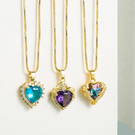 Collar de circón con micro incrustaciones de cobre con piedras preciosas de corazón hueco de moda NHLN355276's discount tags