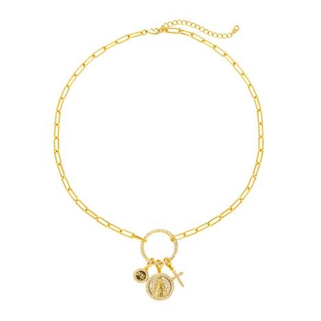 fashion cross circle statue combination pendant copper necklace NHLN355277's discount tags