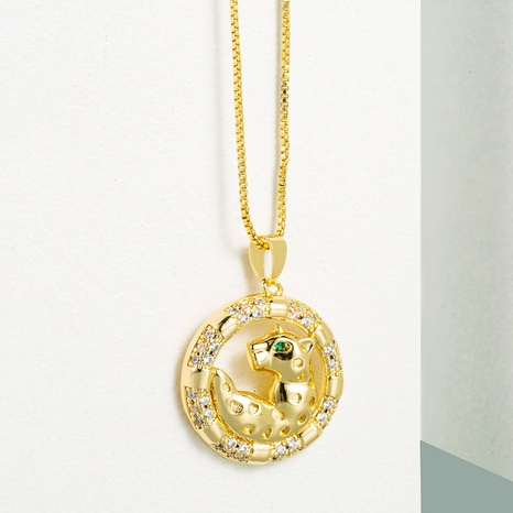 fashion round animal leopard pendant copper inlaid zircon necklace NHLN355278's discount tags