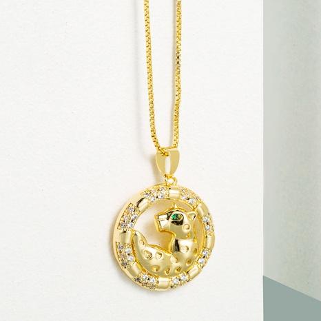 Collar de circón con incrustaciones de cobre con colgante de leopardo animal redondo de moda NHLN355278's discount tags
