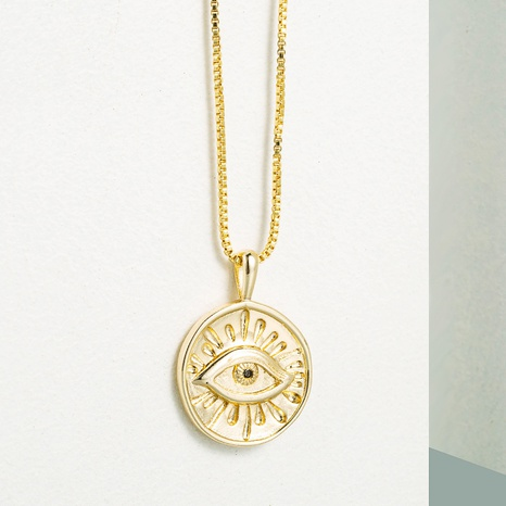 simple round demon eye pendant copper necklace  NHLN355279's discount tags