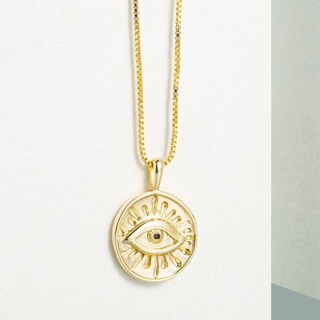 collar de cobre con colgante de ojo de demonio redondo simple NHLN355279's discount tags